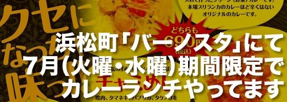 【イベント】東京・浜松町「bar nosta」にて7月(火・水曜)限定の出張カレーランチイベントを行います!