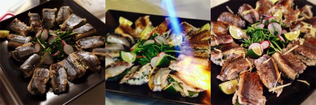 キノコとトロロの秋刀魚包み焼き